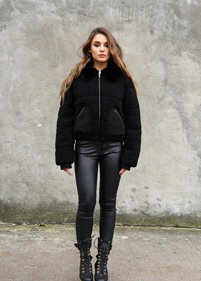 Teddy Puffer Jacket Front View Black