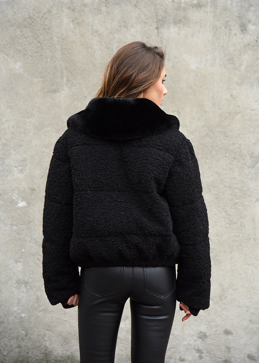 Teddy Puffer Jacket Back View