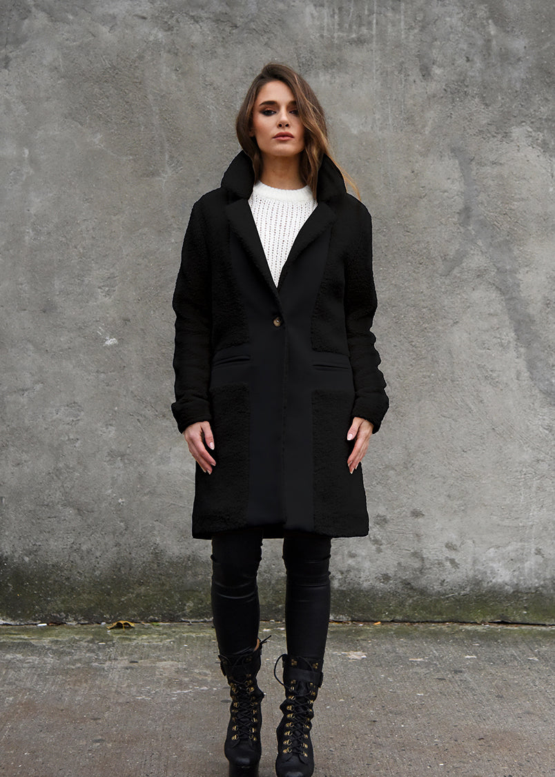 Teddy Wool Coat Front View Black