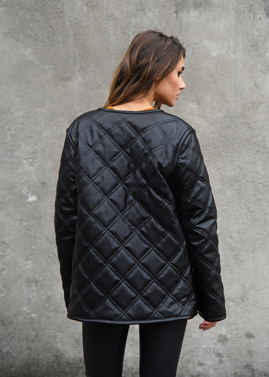 Faux Shearling Military Liner Back View