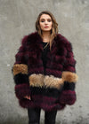 Mid Length Raccoon Fur Coat Front View
