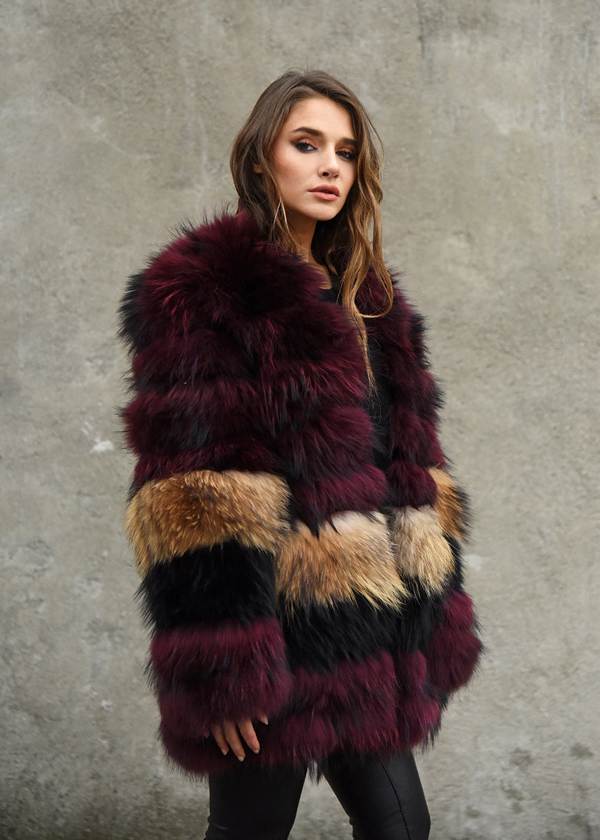 Mid Length Raccoon Fur Coat Side View
