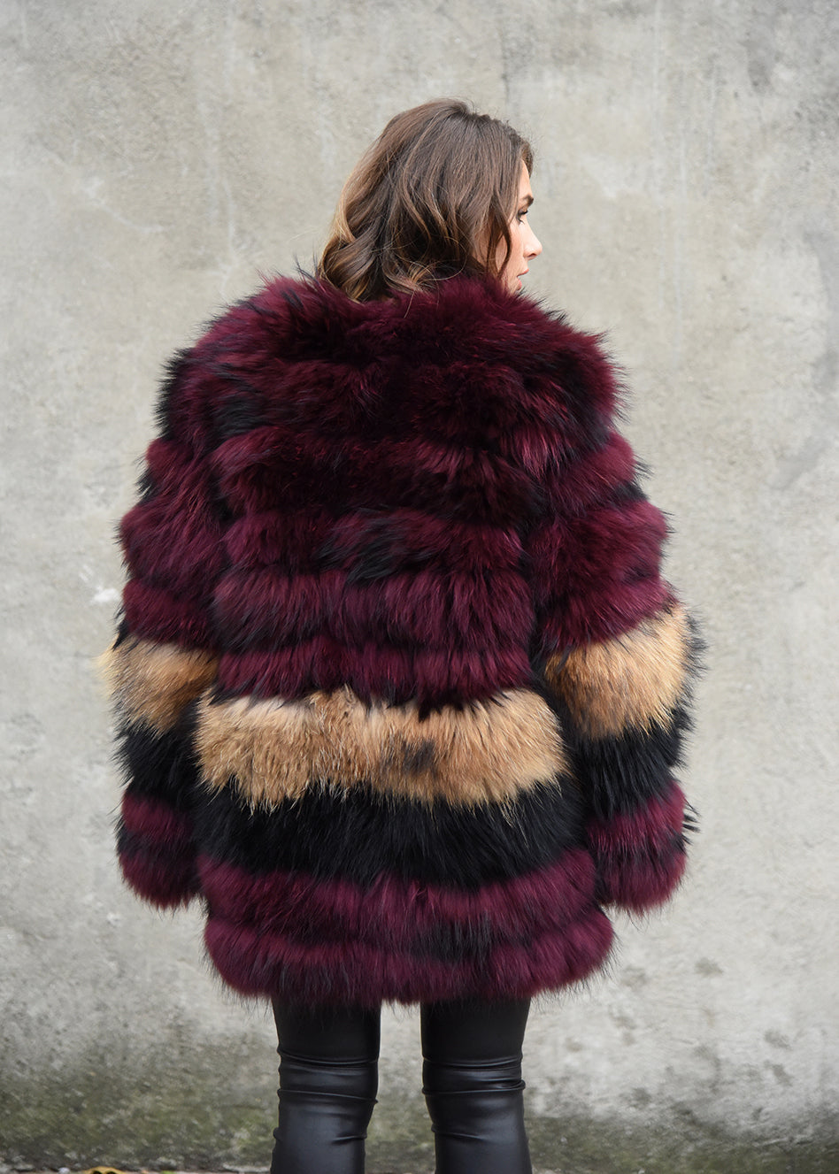 Mid Length Raccoon Fur Coat Back View