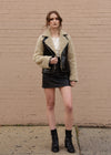 Patent Leather Faux Fur Jacket Full Body
