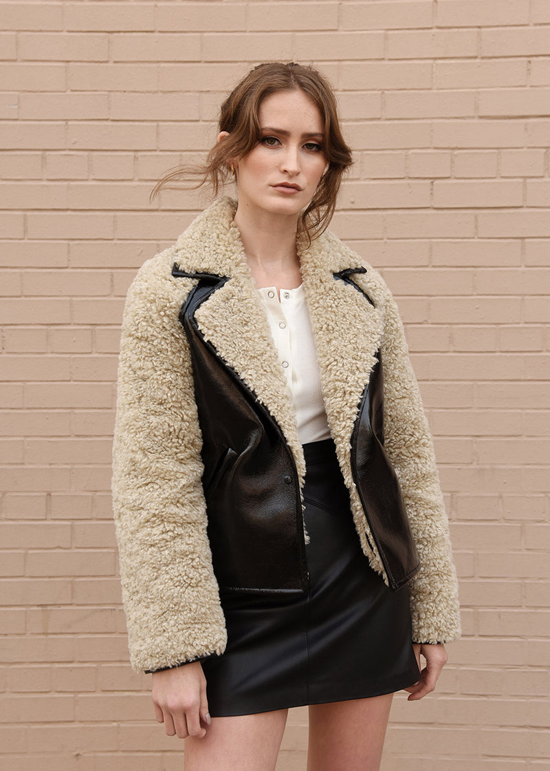 Patent Leather Faux Fur Jacket Front
