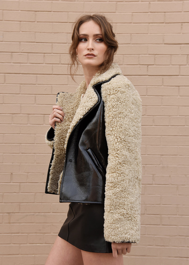 Patent Leather Faux Fur Jacket Side