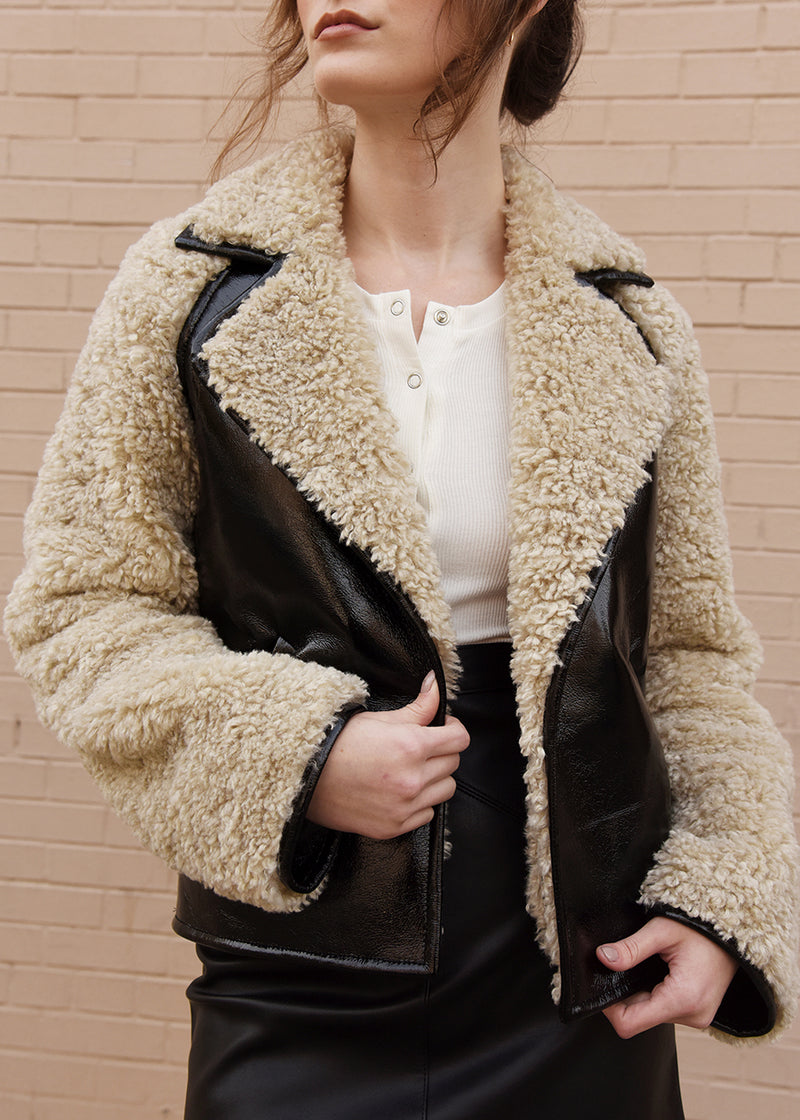 Patent Leather Faux Fur Jacket Detail