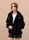 Oversized Shearling Jacket Black Front Close Up