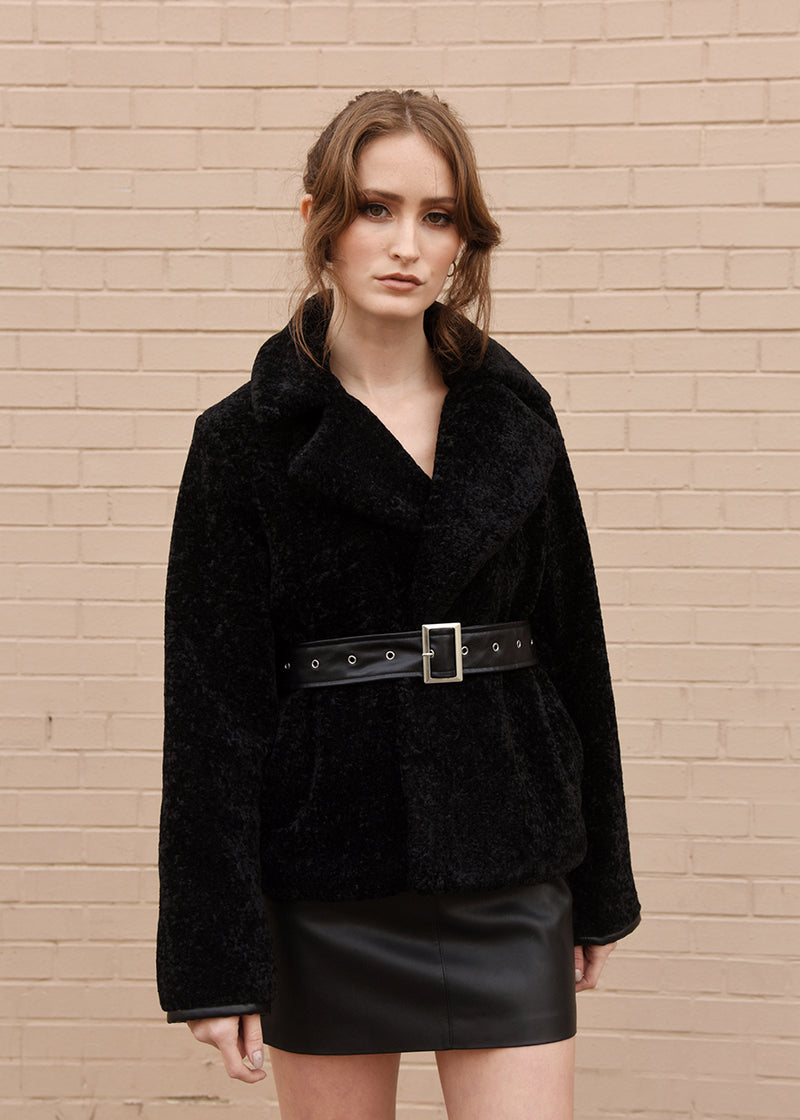 Faux Fur Jacket with Belt Black Front Close Up