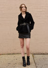 Faux Fur Jacket with Belt Black Front