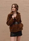 Faux Fur Jacket with Belt Camel Front