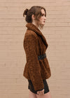Faux Fur Jacket with Belt Camel Side