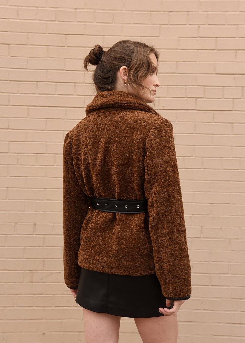 Faux Fur Jacket with Belt Camel Back