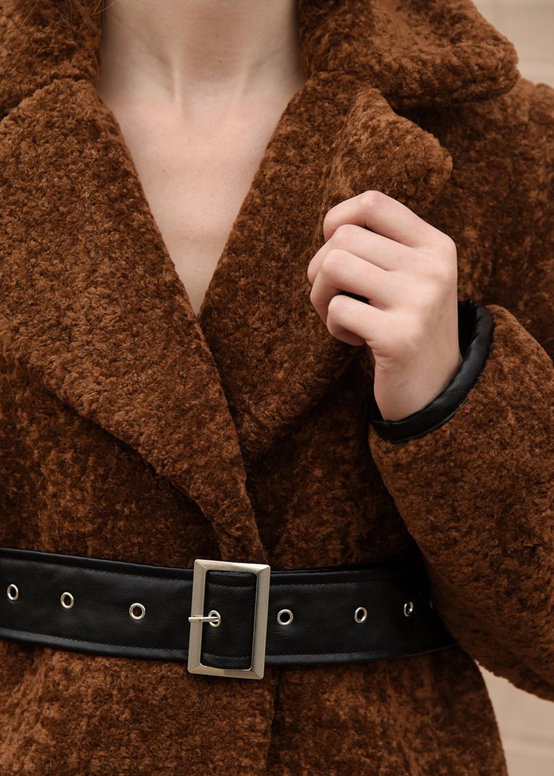 Faux Fur Jacket with Belt Detail