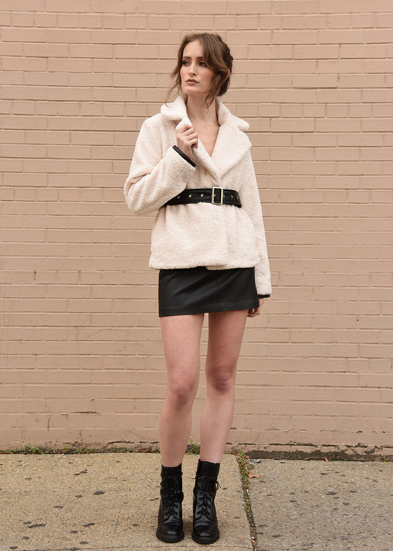 Faux Fur Jacket with Belt Ivory Front