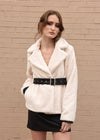 Faux Fur Jacket with Belt Ivory Front Close Up