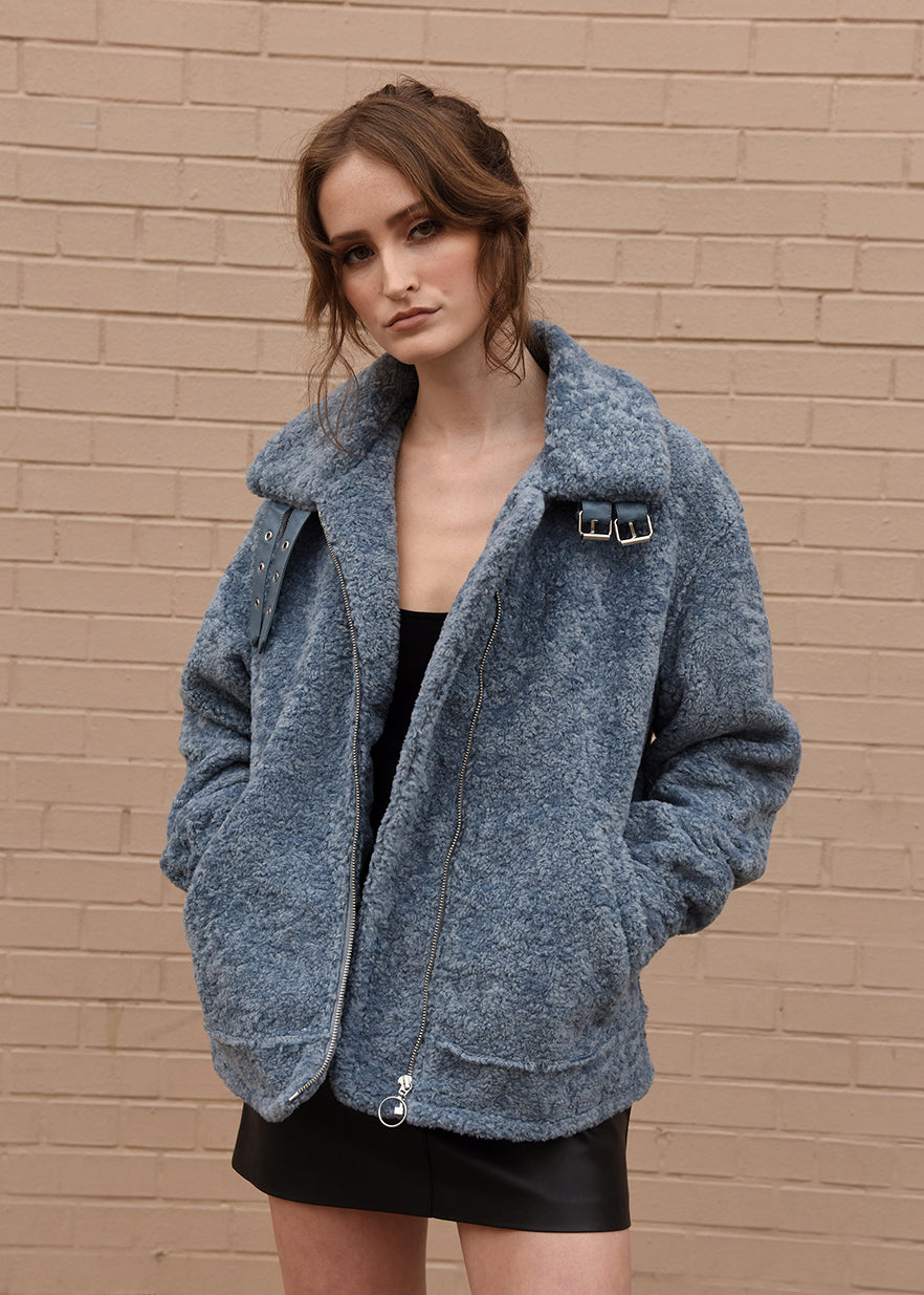 Oversized Shearling Jacket Blue Front Close Up