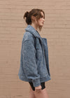 Oversized Shearling Jacket Blue Side