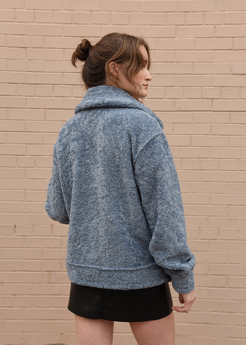 Oversized Shearling Jacket Blue Back