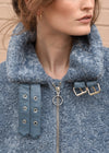 Oversized Shearling Jacket Blue Details
