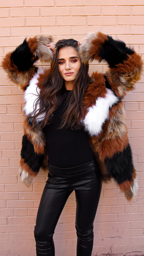 Striped Fox Raccoon Fur Jacket