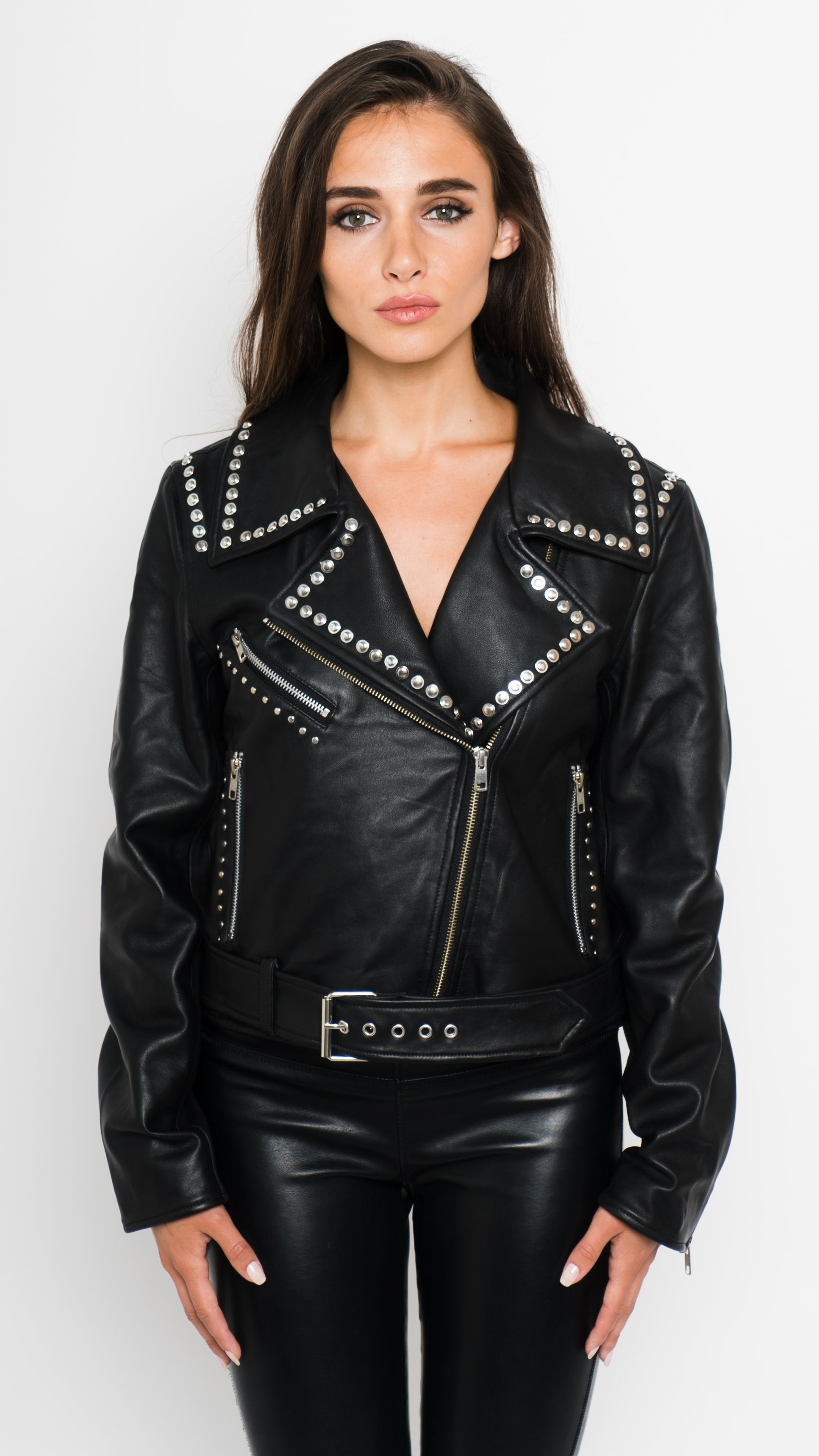 Rose Studded Leather Moto Jacket Front View