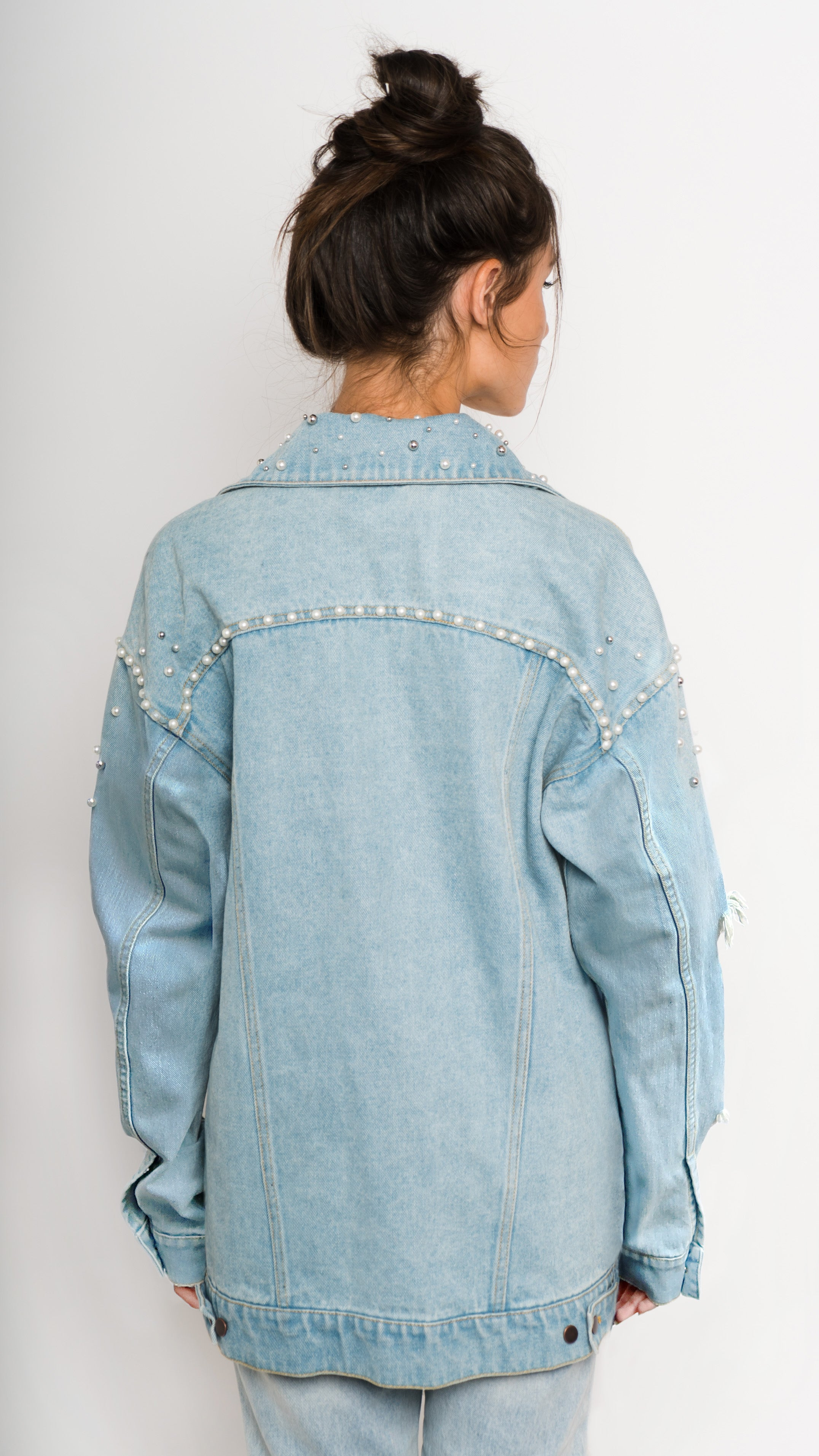 Pearl Studded Distressed Denim Jacket Back View