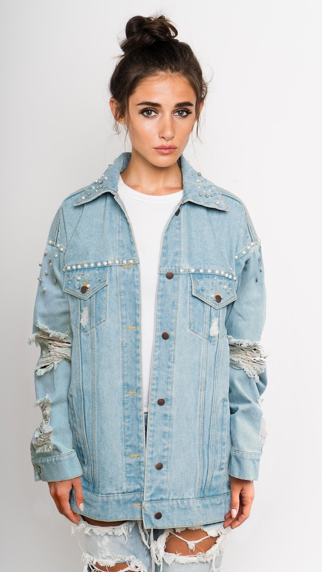 Pearl Studded Distressed Denim Jacket Front View
