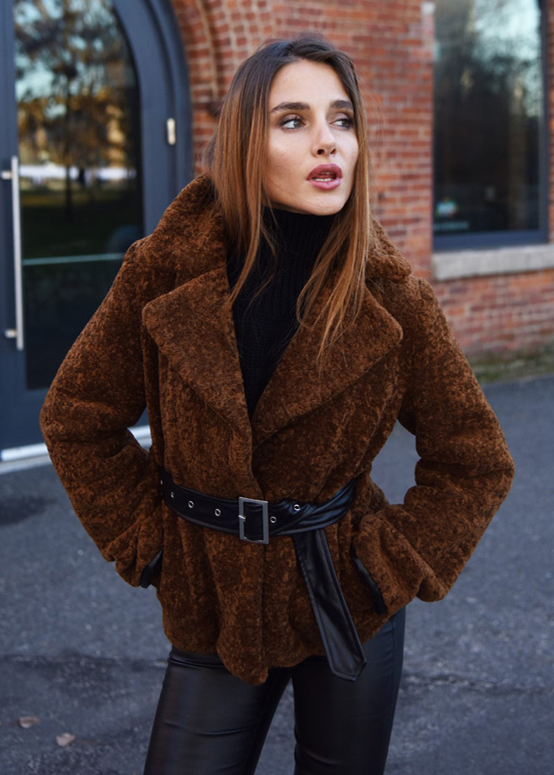 Faux Fur Jacket with Belt