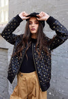 Quilted Studded Leather Bomber Jacket