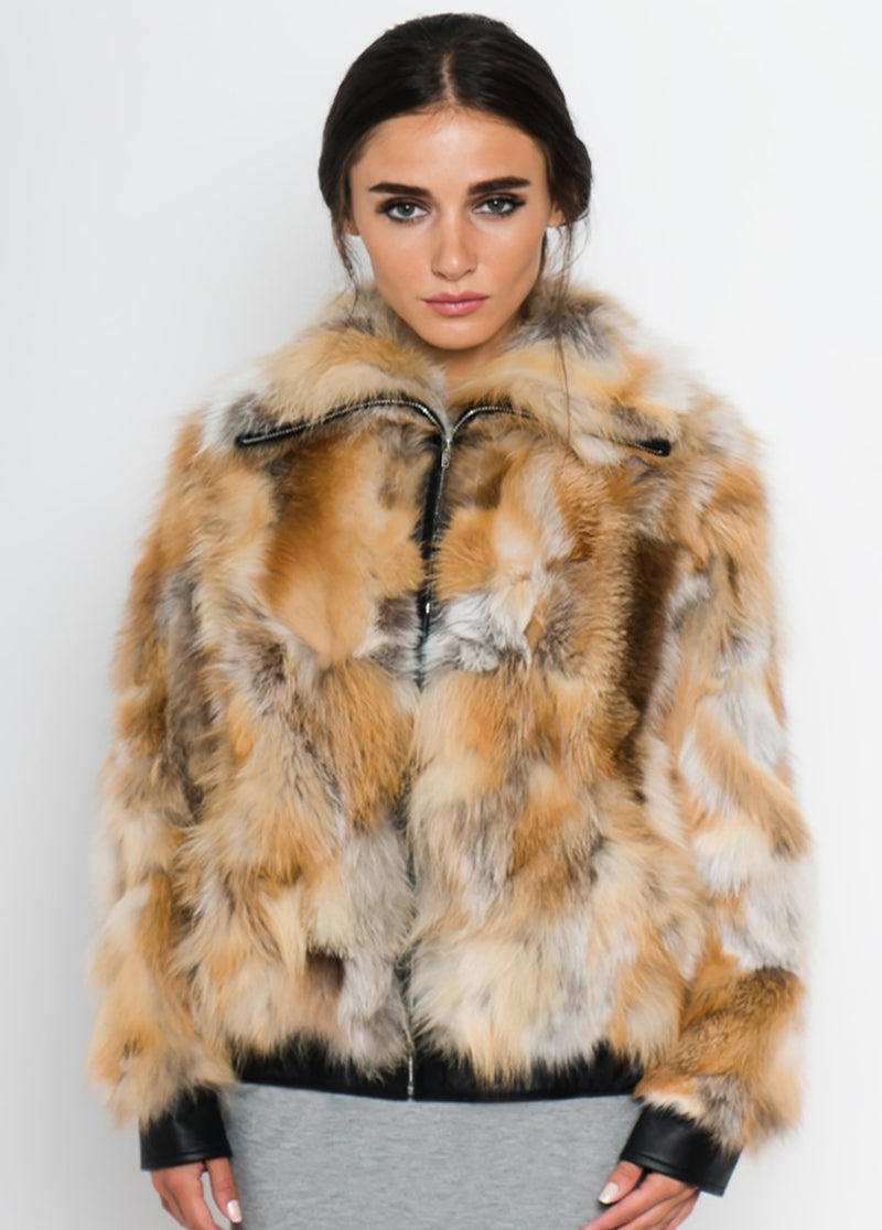 Patchwork Fox Fur Jacket