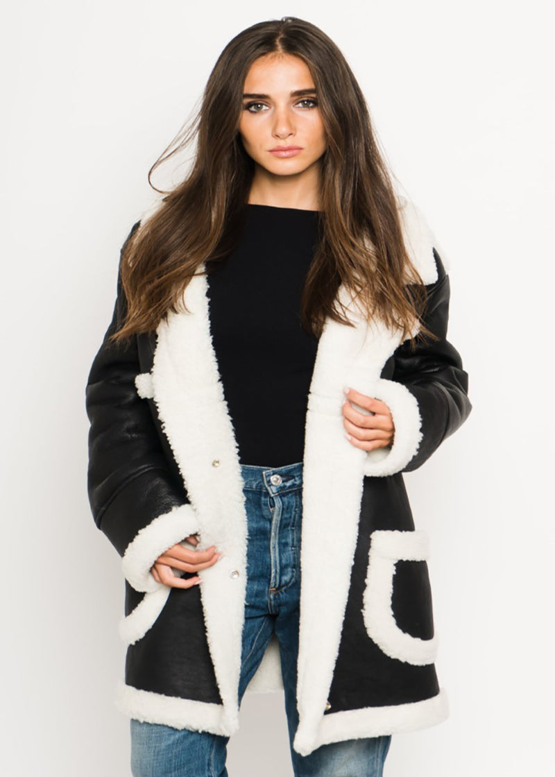 Mid-Length Faux Shearling Coat