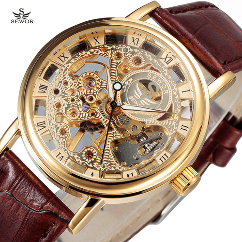 Gold SEWOR Skeleton Watch