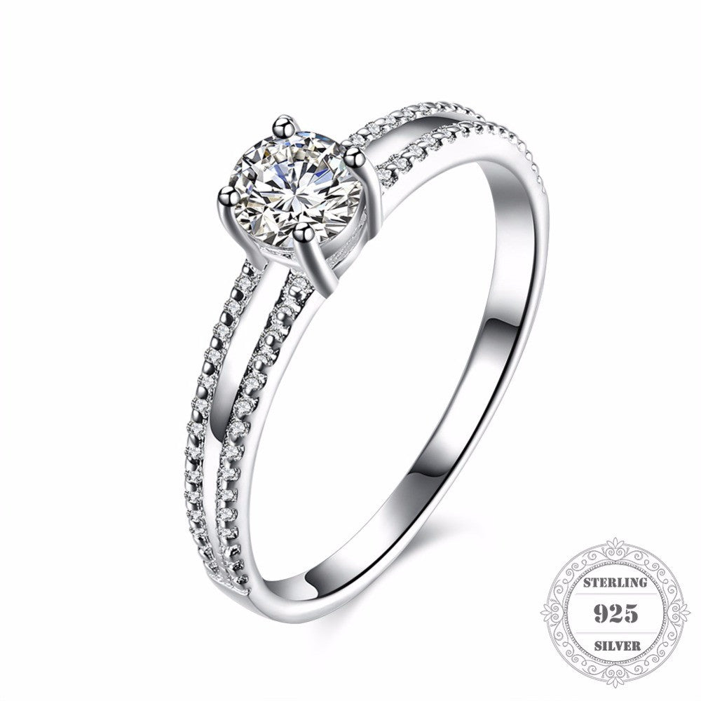 Hemiston Luxury 100% 925 Sterling Silver Simplicity Round CZ Engagement Rings - Tagerts