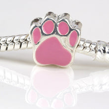 free shipping 1pc silver plated color enamel dog paw  big hole Bead charm Fits European Pandora Charm Bracelets & Necklaces A137 - Tagerts