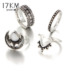 17KM 4PCS/Set Punk Oval Moon Tibetan Sliver Color Ring Set for Woman Man Spinner Ring Anillos Knuckle Ring Jewelry 2017 New
