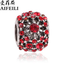 AIFEILI Silver Color Heart Shape Charm Red Beads Fit Pandora Charm Bracelet DIY Original Silver DIY Love Women Jewelry - Tagerts