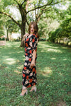 ALICIA KEYS Floral Knit Front Slit Dress