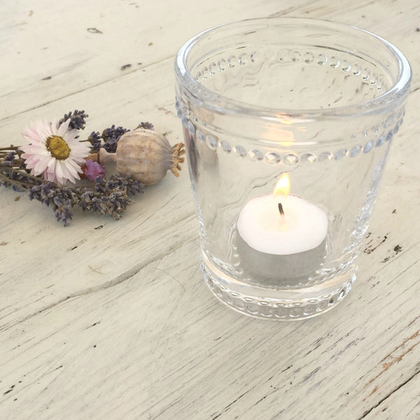 Dotted Glass Candle Holder - Dales Country Interiors