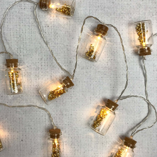 Glitter Bottle Fairy Lights Garland - Dales Country Interiors