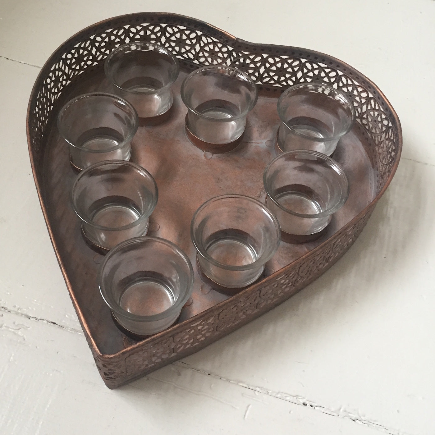 Metal Heart Candle display - Dales Country Interiors