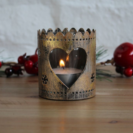 Bronze heart tea light holder