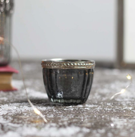 Distressed glass tea light holders