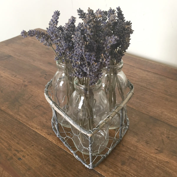 Heart Wire Basket with Glass Bottles - Dales Country Interiors
