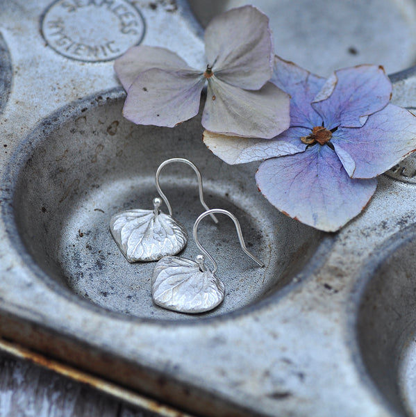 Hydrangea Petal Earrings by Upside Down Tree Studio