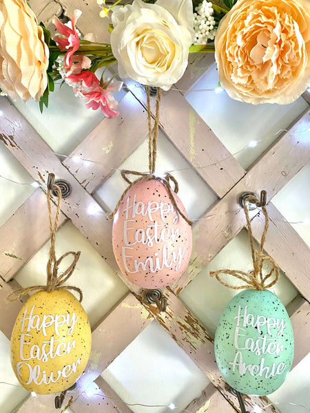 Personalised hanging Easter Eggs - Dales Country Interiors