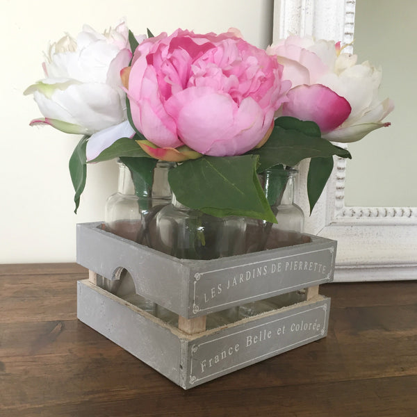 Flower Crate with Bottles - Dales Country Interiors