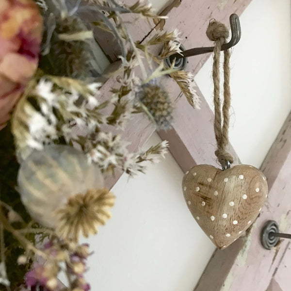 Chunky Spotted Hanging Hearts - Dales Country Interiors