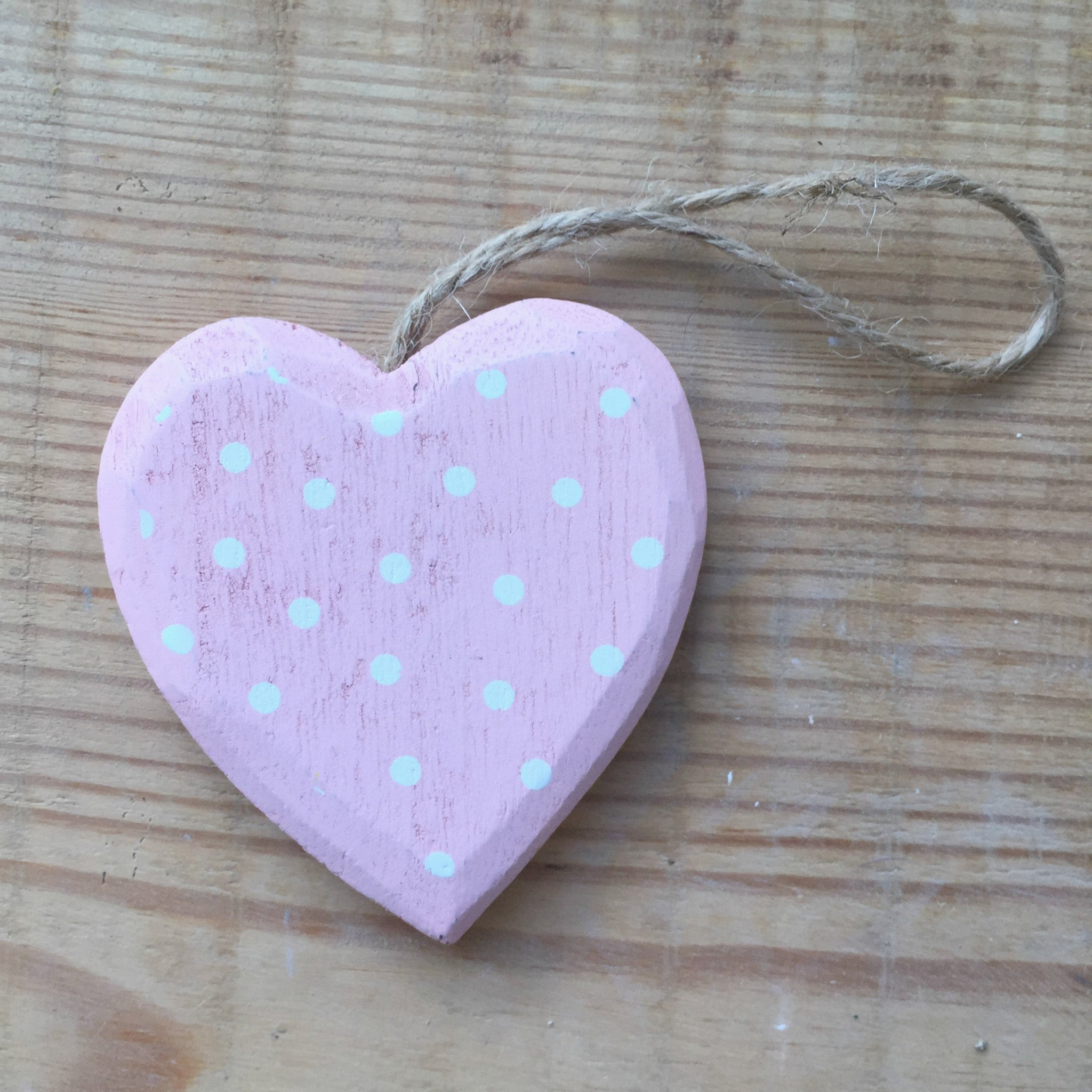 Spotty Hanging Hearts - Dales Country Interiors