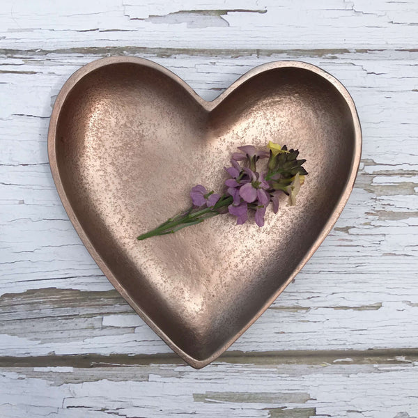 Rose Gold Heart Dish - Dales Country Interiors